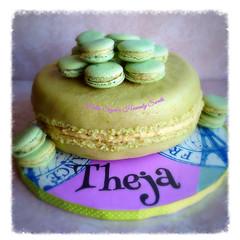 Macaron shaped cake for Theja! (Helen's Heavenly Sweets) Tags: paris france ganache birthdaycake pistachio happybirthday marzipan crememousseline macaronshapedcake