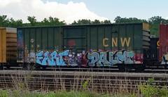 FART & PALM (BLACK VOMIT) Tags: car train graffiti box palm fart boxcar freight cnw