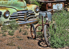 New Saddle Needed (Helen Orozco) Tags: rust tricycle range chevysomethingorother