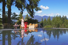 I had too much to drink (yuanxizhou) Tags: ocean blue party summer sky mountain canada pool beautiful vancouver clouds reflections fun restaurant girlfriend britishcolumbia lifestyle westcoast seashore drank