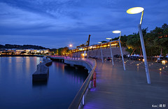 Boardwalk Blue Hour (Ken Goh thanks for 2 Million views) Tags: street blue reflection water buildings pentax smooth sigma hour boardwalk lamps sentosa 1020 k1 citiscape