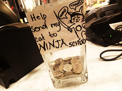 Ninja Cat (Exile on Ontario St) Tags: school cup coffee caf station shop train cat cafe coin montral gare coins ninja montreal coffeeshop cash business pot help tip tips second change screening clever tipjar cashier centrale secondcup generous jarre monnaie pourboire pourboires