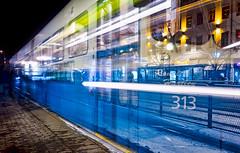 The 313 (Olderhvit) Tags: longexposure night canon gteborg sweden gothenburg tram lighttrails streetcar goteborg sprvagn vasttrafik olderhvit