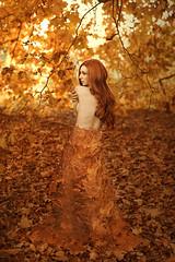 Autumn Chameleon (Claudia Paridae Images) Tags: autumn portrait orange woman leaves lady fairytale fineart creative australia conceptual chameleon