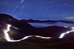 Star trails at Mountain Hehuan  (Vincent_Ting) Tags: sunset sky mountain night clouds sunrise star glow taiwan trails galaxy flare moonlight formosa   crepuscularrays startrails milkyway  seaofclouds            mountainhehuan             vincentting   hthehuan