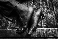 Rusted Feets (Vilvesh) Tags: life travel portrait people bw feet girl monochrome face canon eyes bangalore oldman karnataka hardwork cwc hardlife shivajinagar canon100mm krmarket bangalorewalk chennaiweekendclickers cwctravelwalk