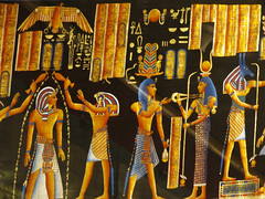 Traditional Egyptian Art (shaire productions) Tags: egyptandthenile street cairo egypt egyptian image picture photo photograph outdoors market art artistic artwork traditional painting blackandgold pharoah queen king crown