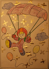 just a smile away (Etching Stone) Tags: transform form flow sentientbeing aviation stone colouringbook kids children alteredimages sky illustration painting book paintingbook surreal clouds parachute parachutedescent parachutejump parachutesilk goldenparachute fallschirm cross golden balloon jump fall freefall