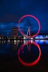 Eye Reflections (Jemma Graham) Tags: city longexposure england london night reflections unitedkingdom londoneye gb lighttrails photo24