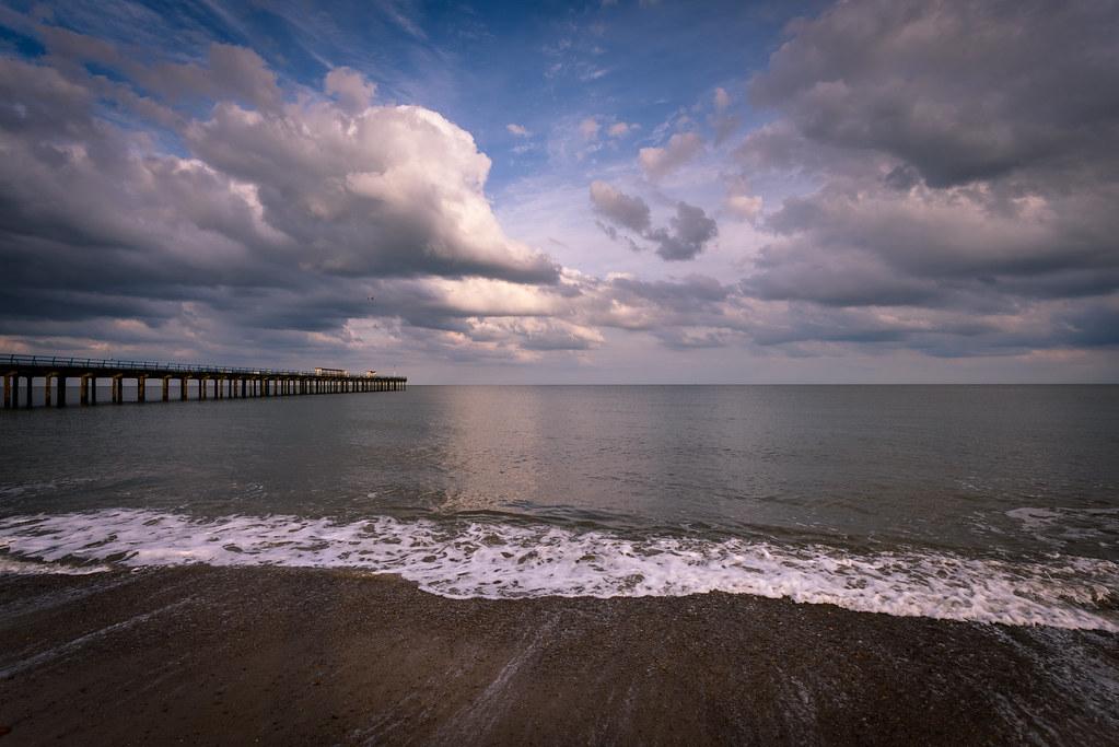 Cloudy sky above Felixstowe Pier