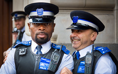 Police Pride (DobingDesign) Tags: blue people london smiling fun streetphotography handsome police depthoffield lgbt uniforms londonstreets policeofficers pridelondon gaypride2016 communitysupportpolice
