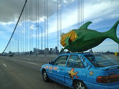 stock   Vote YES PROP 37, Label GMO Foods Car with Corn Fish Sculpture IMG_9408 (Lynn Friedman) Tags: 37 attribution baybridge ca car clever corn cover fish food geneticallymodifiedfoods gmo humor label lynnfriedman marketing message openstudios politics prop37 proposition proposition37nov2012oncaliforniagmofoodlabelling published sanfrancisco skyline stock unique usa yes yesmagazine yesmagazineorg fav favorites