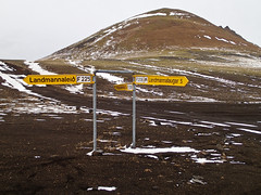 Landmannalauger sign (RobOutar) Tags: city autumn mountains fall water landscape volcano waterfall iceland october sony rob glacier geyser 2012 outar a55