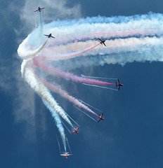 Red Arrows Burst (sparkygb) Tags: aircraft redarrows cosford cosfordairshow