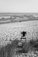 Life full of your absence (unoforever) Tags: street people woman beach monochrome photography calle mujer chair gente streetphotography playa silla streetphoto benicassim fotografa onthewaterfront flickrfriday spmon