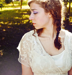 Waiting For Her Wings (Katherine Lind Photography) Tags: light woman sun sunlight cute girl beautiful face wow hair amazing model pretty sad eyelashes dress skin sweet lace gorgeous lips curly lovely curlyhair braid longeyelashes fulllips