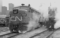 Canadian National Railways (CNR) MILW FPA4 6776 and other CN power at Spadina Yard, Toronto, Ontario, Canada, 1977 (Ivan S. Abrams) Tags: blackandwhite newcastle pittsburgh butler bo ge prr ble conrail alco milw emd ple 2102 chessiesystem westmorelandcounty 4070 bessemerandlakeerie steamtours pittsburghandlakeerie ivansabrams eidenau steamlocomtives ustrainsfromthe1960sand1970s