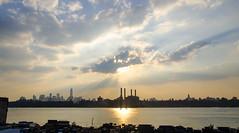 9/11 Sunset from Brooklyn... (Tasayu Tasnaphun) Tags: nyc sunset usa newyork reflection skyline brooklyn clouds america manhattan worldtradecenter eastriver wtc greenpoint freedomtower