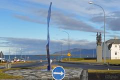 Optical Illusion - Looking North (Sig Holm) Tags: sculpture art iceland artwork september reykjavík opticalillusion ísland islande 2013 listaverk borgartún rafaelbarrios höfðatorg höfðatún katrínartún