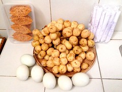 """Local goodies from the province of Laguna! Espasol, delish pastry tarts, sweet lanzones and """"balut sa puti""""! (Travel Galleries) Tags: fruit sweet pastry local sa laguna goodies puti tarts province balut delish lanzones lansones espasol colorvibefilter"""