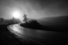 November Day (Svein Nordrum) Tags: road november autumn light shadow blackandwhite bw sun mist nature monochrome weather fog haze wide surface explore grayscale curve ze maridalen 21mm explored distagont2821 distagon2128ze