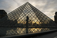 Glass Pyramid (Miozoto Images) Tags: paris france reflection water glass pyramid outdoor louvre panasonicdmcgf2