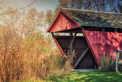 The Covered Bridge (@keverhart1) Tags: wood old bridge blue light ohio red summer sun color fall grass barn amber spring autum beam covered beams sunflare pickerington