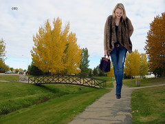stpgts (iffelbuffer) Tags: autumn woman fall bike boots path blonde stony plain giantess iffelbuffer