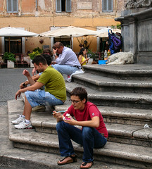 Piazza di Santa Maria in Trastevere. Rome 2007 (Tiigra) Tags: road city travel people italy dog rome color fountain animal stairs trastevere lazio 2007