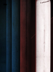 Standing In The Shadows Of Love (Steve Taylor (Photography)) Tags: city blue shadow red newzealand christchurch white concrete support stadium canterbury nz southisland column fourtops standingintheshadowsoflove