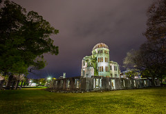 A-Bomb dome - Hiroshima (lucien_photography) Tags: longexposure nightphotography light shadow japan night canon dark japanese memorial peace nightshot cloudy nuclear hiroshima dome nippon bomb atomic japon abomb genbaku markiii hiroshimapeacememorial canon5dmarkiii 5dmarkiii dmedegenbaku