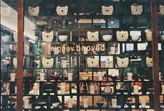 random organize / beyond veggie (yangkuo) Tags: film window wall reflections natura bowl 1600 cups japaneserestaurant pottery grainy expired flipped midvalley woodenrack classica secretrecipe beyondveggie