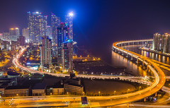 Cyberpunk: Blade Runner Revisited (DMac 5D Mark II) Tags: road city longexposure sea architecture modern night buildings lights evening design coast asia cityscape skyscrapers bright style busan infrastructure southkorea ipark