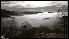 Nebel (Madlen Steiner) Tags: sunset blackandwhite bw nature clouds canon germany landscape europe nebel berge landschaft schwarzwald weitwinkel schwarzweis
