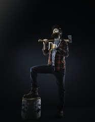 Le Bcheron - The Lumberjack (William Gagne) Tags: wood light red portrait color men classic college beer shirt studio beard boot nice manly young jeans cap axe pabst epic viril lumberjack manliness bcheron