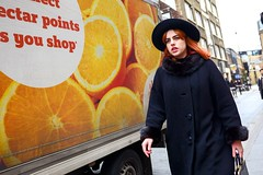 Orange (5ERG10) Tags: street red portrait orange black color colour london sergio hat truck dark hair bag walking fur michael nikon walk buttons candid sunday vivid lips purse shoreditch advert copper sainsburys lipstick roger nikkor bricklane oldstreet rossi eastend d800 capelli hoxtonsquare 2470mm amiti 5erg10
