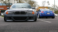 e46M (Anthony Stone - amsfoto) Tags: blue nissan low gray stretch 350 bmw z m3 meet 350z stance camber e46 fitment stanced