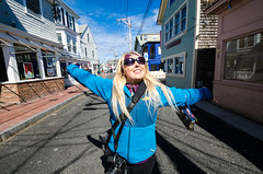 Theresa, in the middle of the street in Provincetown, MA (m01229) Tags: ma unitedstates provincetown capecod massachusetts d7000