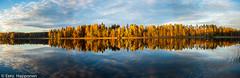 Autumnal lake landscape (Eero Happonen) Tags: autumn lake october sysmä syksy kesämökki järvi ruska panoraama southernfinland lokakuu 2013 joutsjärvi mäntykallio nikoncoolpixp7700 lokakuu2013