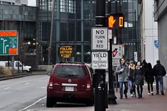 No Turn / Yield (AntyDiluvian) Tags: signs boston subway t traffic massachusetts pedestrian mbta redline westend detour cambridgestreet noturnonred charlesstreetstation charlesstation charlesmghstation