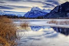 Reeds on Vermillion Lake (John Andersen (JPAndersen images)) Tags: blue snow mountains fall ice sunrise grey cloudy alberta banff vermillionlake
