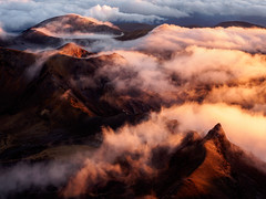 Restless Earth (blue polaris) Tags: park new blue red summer cloud lake fog sunrise landscape volcano crossing south zealand alpine national crater summit tongariro ngauruhoe