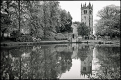 St James (h_cowell) Tags: blackandwhite reflection church water monochrome mono pond cheshire panasonic nik 20mm bnw stjames gawsworth efex gx7
