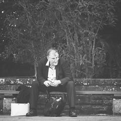 Business Man (Schwaco) Tags: life old blackandwhite man businessman work bench corporate sitting sad sydney australia oldman business suit company elderly elder sit thinking depressed job pondering sydneyaustralia sadlife