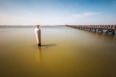 Lago di lesina e le sue opere... (Minieri Nicola) Tags: sea italy lake art beautiful landscape lago pier puglia paesaggio pontile longexposition