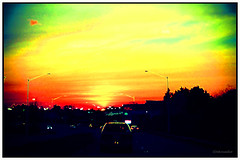 Sunset Highway (3 - 3) (Stephenie DeKouadio) Tags: sunset sky urban color colour art yellow canon painting photography virginia colorful image outdoor serene imagery darkandlight