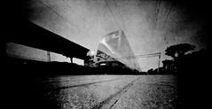 Train that has departed (batuda) Tags: pinhole obscura stenope analogue tin altoids 6x9 paper kodak polymax d76 wide wideangle vignette vignetting station lowangle tree sky ground motion movement lithuania kaunas bw way