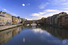 Ponte Vecchio (filippi antonio) Tags: city bridge blue sky italy architecture reflections river italia cityscape arte blu fiume cielo firenze arno toscana riflessi architettura pontevecchio citt waterscape paesaggiourbano