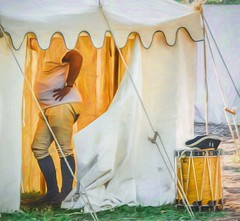 When The Drumming Is Over (Wes Iversen) Tags: painterly men drums tents illinois revolutionarywar ropes tshirts drummers wheaton cantigny hss reenactments cantignypark potbellies sliderssunday