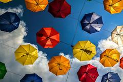 Alley A (Melissa Maples) Tags: cameraphone sky apple clouds turkey asia trkiye antalya umbrellas iphone  kaleii iphone6 umbrellaalley